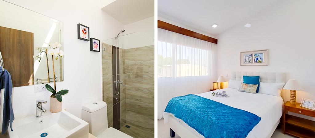 Habitación y baño de casa novazul